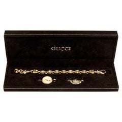 1980s Gucci Sterling Silver Mother of Pearl Watch with Silver Gucci Charm