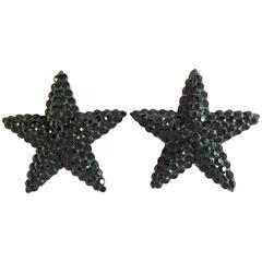 1980s Richard Kerr Black Star Clip On Earrings