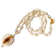 1970s William deLillo Pearl Snake Head Pendant Necklace