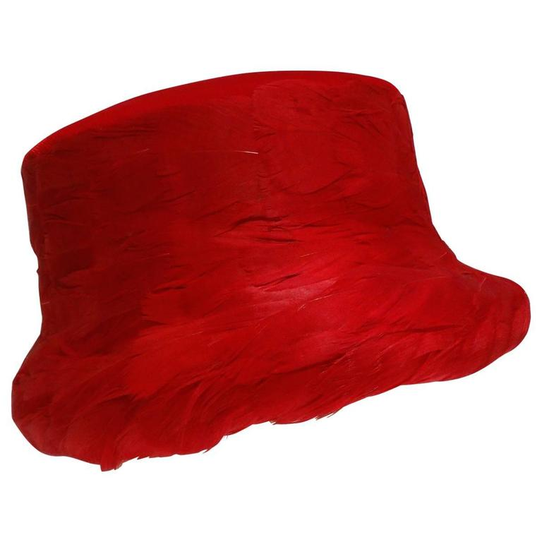 1950s Clover Lane Red Feathered Hat  For Sale