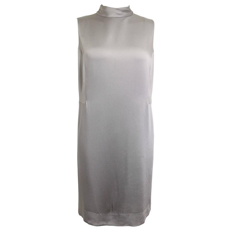 Donna Karan Classic Silver Satin High Neck Sleeveless Shift Dress