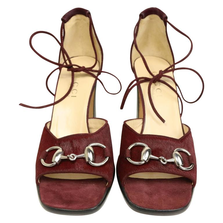 Gucci by Tom Ford Red Pony Hair Lace Up Open Toe Sandals Heels