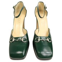 Gucci by Tom Ford Classic Green Leather Square Toe Strap Pumps