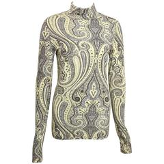 Dries Van Noten Beige Wool Roll Neck Top with Asian Inspired Print