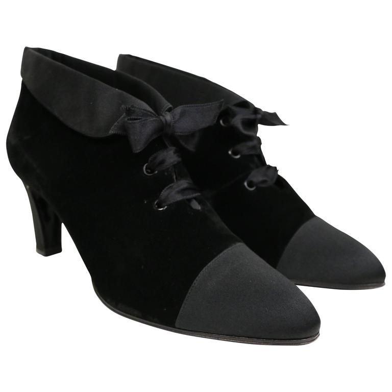 27803e2ac6b7 Chanel Black Velvet and Satin Lace Up Pointy Shoes at 1stdibs
