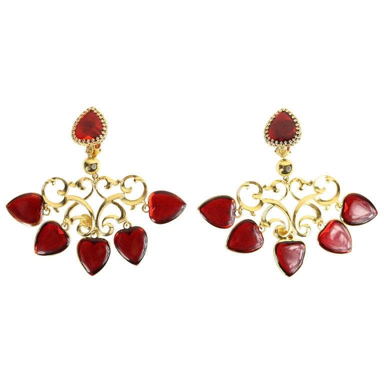 Nina Ricci Red Heart Gold Toned Statment Clip On Earrings  For Sale