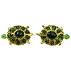Chanel Green Gripoix Gold Toned Setting Clip On Earrings in Turtle Shaped