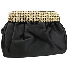 Casadei Black Satin Gold Toned Crystal Rhinestones Evening Clutch