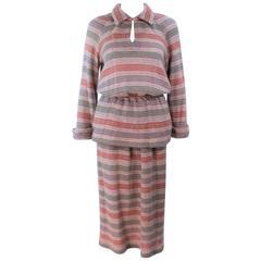 MISSONI Khaki Knit Wool Striped Skirt Set Size 8 10