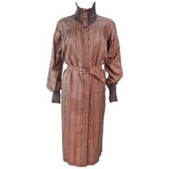 MISSONI Khaki Striped Coat with Knit Trim Size 10