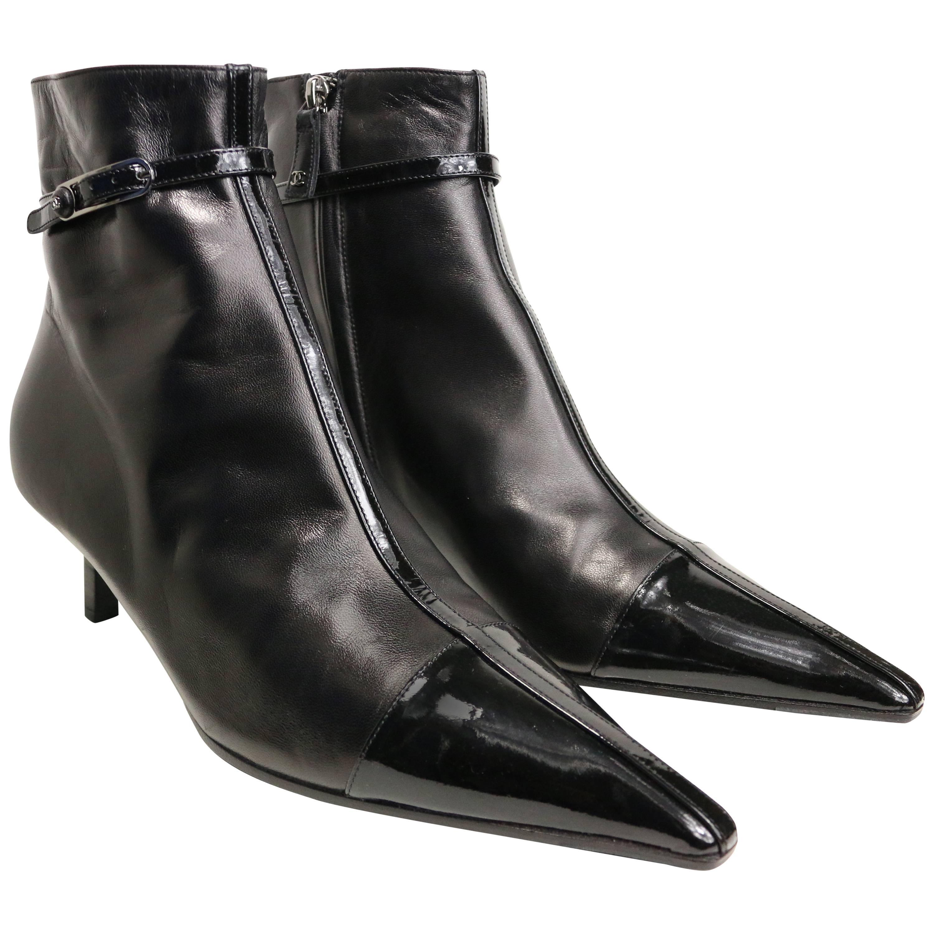 Unworn Chanel Black Leather Pointy Ankle Boots