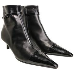 Chanel Black Leather Pointy Ankle Boots