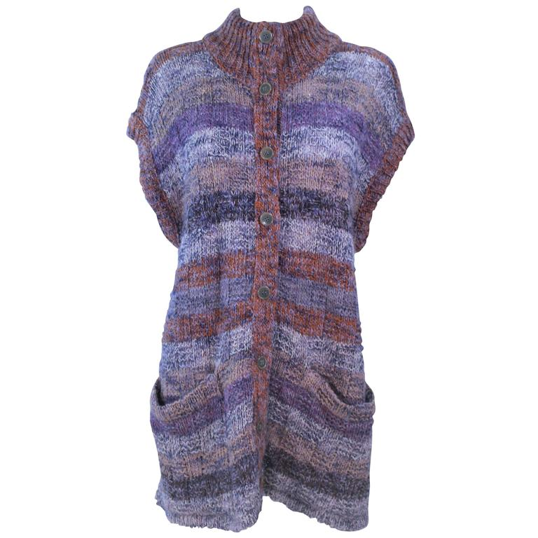 MISSONI Mauve Wool Knit Vest Size Large