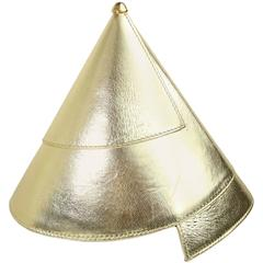 Escada Gold Metallic Leather Party Hat Handbag/Clutch