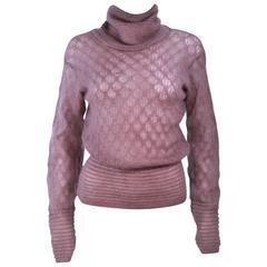 MISSONI Mauve Knit Wool Turtleneck Sweater Size 8