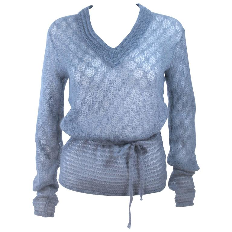 MISSONI Sky Blue Wool Knit V-Neck Sweater Size 8 For Sale