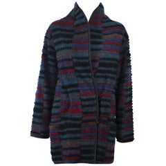 MISSONI Wool Reversible Multi-Color Double Breasted Coat Size 8