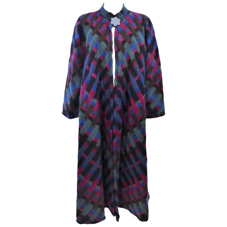 MISSONI Multi- Color Reversible Coat with Mirror Star Button Size 8