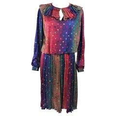 MISSONI Silk Rainbow Skirt Suit with Ruffle Collar Size 8