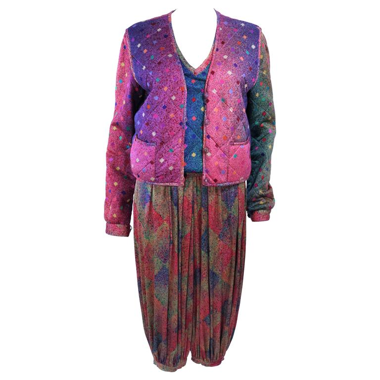 MISSONI Silk Rainbow Print Ensemble with Harem Pants Quilted Sweater Size 6 8