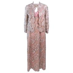 Vintage 1950's Peach Champagne Iridescent Lace Gown and Coat Size 8 10