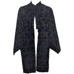 VICTORIAN Black Floral Velvet Caplet with Beaded Trim Size 0