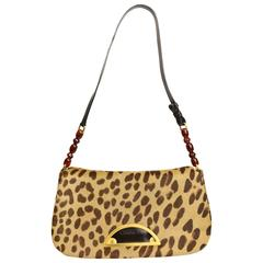 Christian Dior Leopard Print Pony Hair Baguette Bag