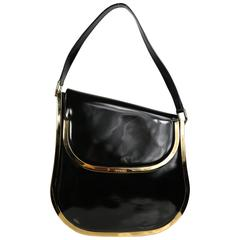 Gucci by Tom Ford Black Patent Leather Gold Toned Piping Shoulder Bag