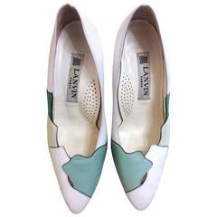 Vintage LANVIN white, light green, and green layered leather shoes, pumps. 6-6.5