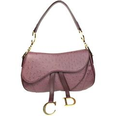 "Dior Aubergine Ostrich Double Saddle Handbag With Gold ""CD"" Hardware"