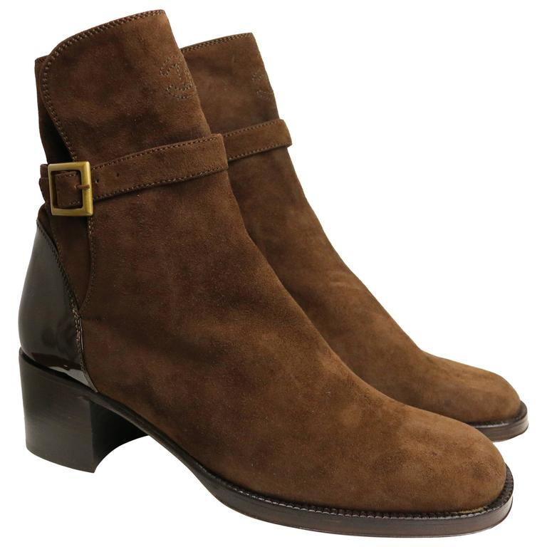 Chanel Brown Suede /Patent Ankle Boot  1