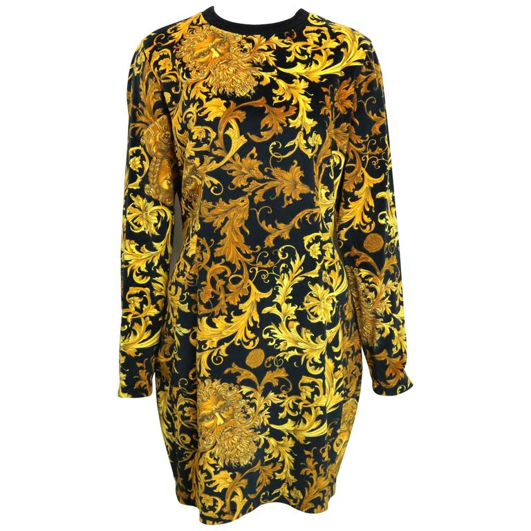 Gianni Versace Jeans Couture Gold Medusa Velour Dress  For Sale