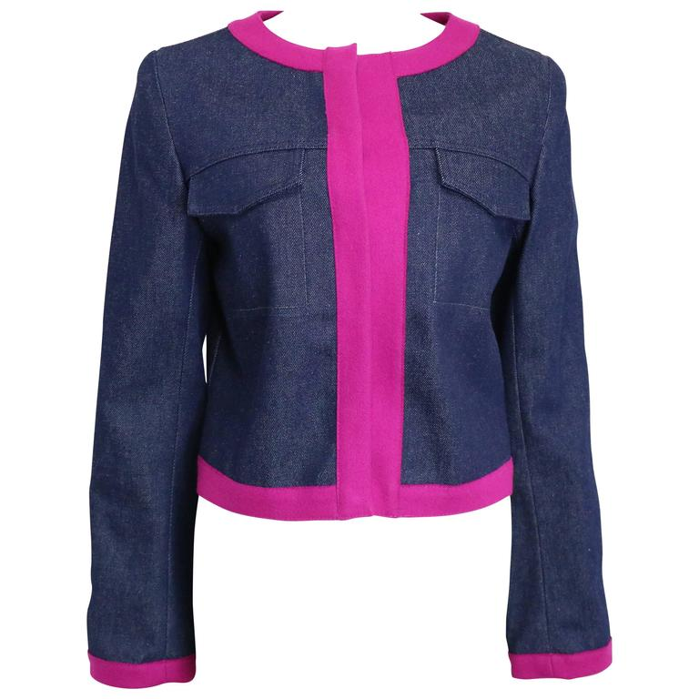 Fendi Navy with Contrast Pink Piping Trim Cropped Denim Jacket