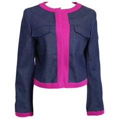 Unworn Fendi Navy with Contrast Pink Piping Trim Cropped Denim Jacket