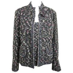 Chanel Multi Coloured Tweed Wool Jacket and Sleeves Top Ensemble
