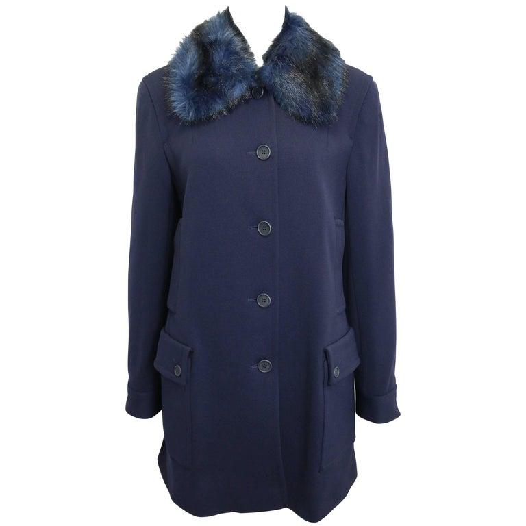 Iceberg Navy with Blue/Black Fur Collar Coat  For Sale