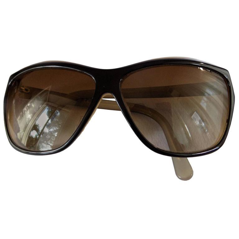 Chanel Black Cream Sunglasses For Sale
