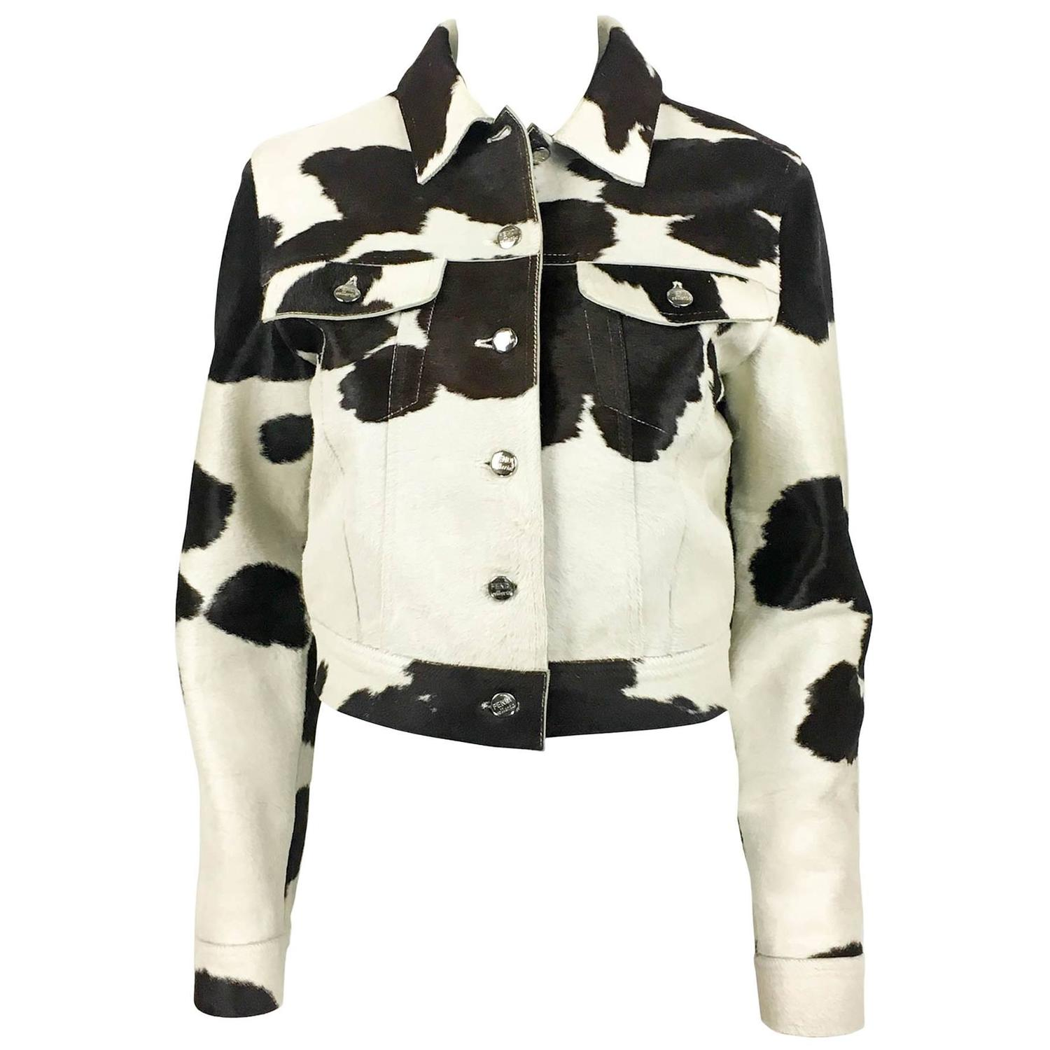 fendi numbered cow print calf hair jacket 1990s for sale at 1stdibs