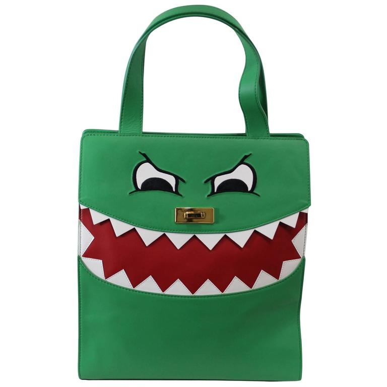 Lovely Moschino Cheap and Chic Dino Green Tote Bag at 1stdibs