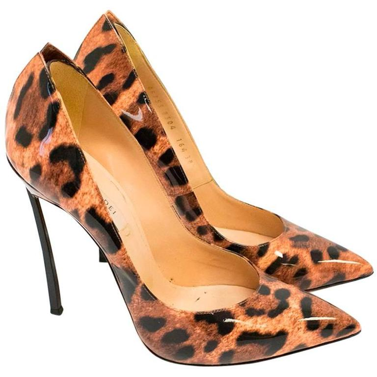 Casadei Patent Leather Leopard Print Pumps 1