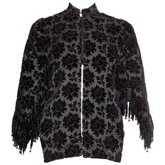 Victorian Cut Velvet Dolman Jacket with Fringe