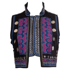 Metal Embroidered Military Style Vest