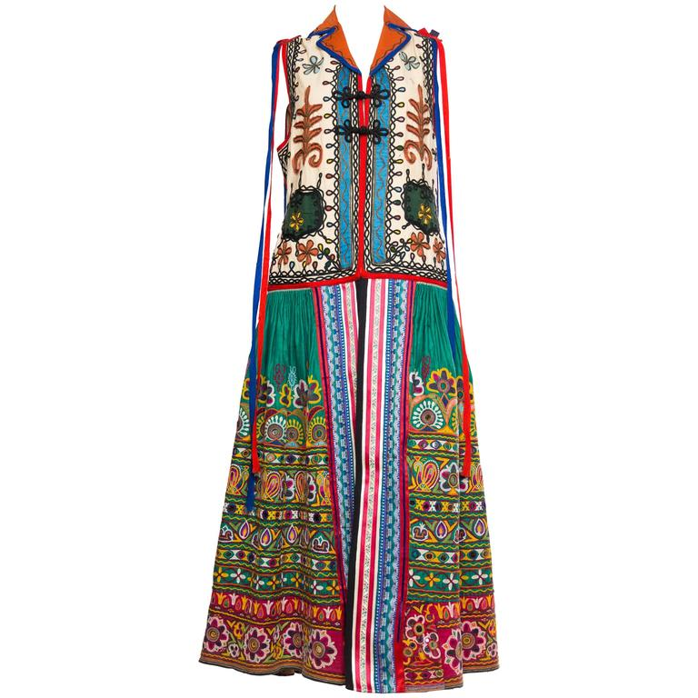 Striking Antique Folkloric Embroidered Duster Vest