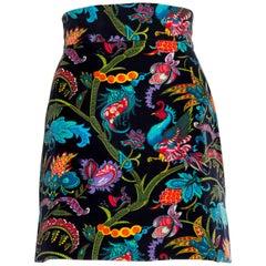 1960S Cotton Velveteen  Exotic Indian Printed Mini Skirt