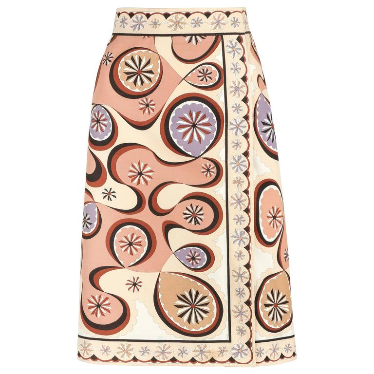 EMILIO PUCCI c.1970's Beige Brown Star Burst Signature Print Cotton Wrap Skirt 1