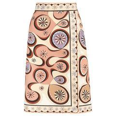 EMILIO PUCCI c.1970's Beige Brown Star Burst Signature Print Cotton Wrap Skirt