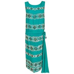 1920's French Turquoise Blue Beaded Deco Floral Drop-Waist Swag Flapper Dress