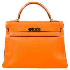 "Hermes Orange & Gold Tone 'Clemence' Leather ""Kelly"" 'Retourne' 32cm Bag"