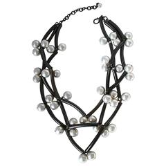 Francoise Montague Rhodium and Pearl Elke Necklace