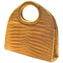 Rare, Oversized Architectural Handbag in Blonde Crocodile